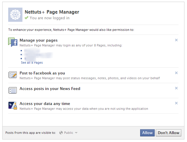 Facebooks Permissions Page