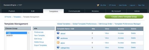 Template Management within EE