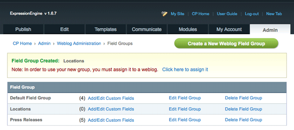 New Field Group Created