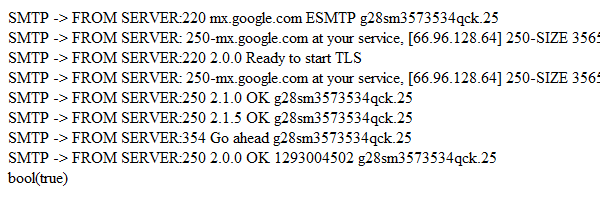 result of using PHPMailer