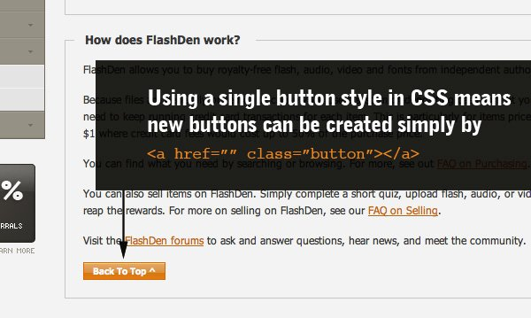Using a single button style in CSS means new buttons can be created simply