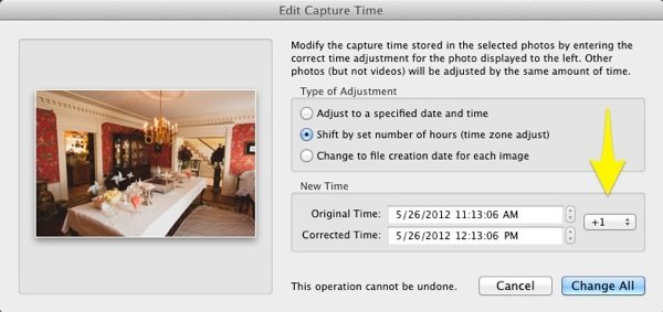 Another option is to adjust all images by a given amount of time. This is great for large batches of images, and is especially helpful when you don't change your camera's time following the Daylight Savings Time change in the United States.