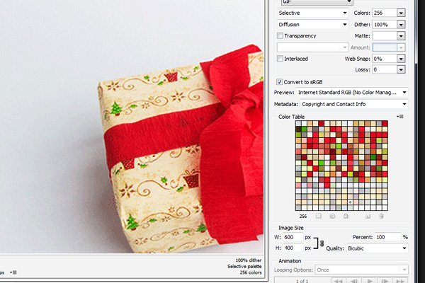 Limited colour palette and clear banding in the GIF export preview window