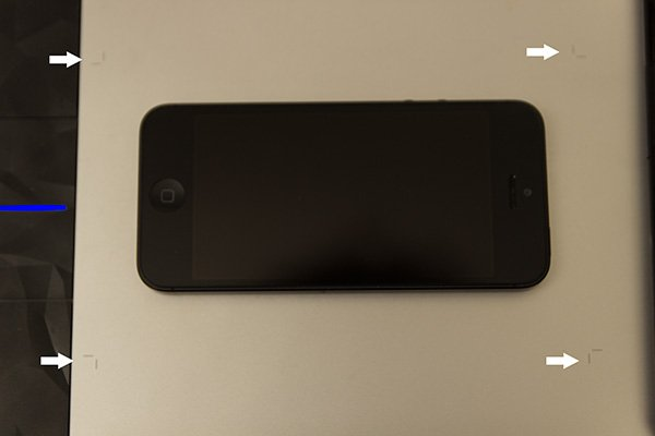 The sensitive area outline marks on the smallest tablet iPhone 5 for scale