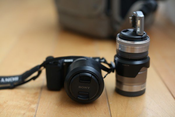 A Sony NEX-5R 50mm f18 16mm f28 and kit lens 18-55mm