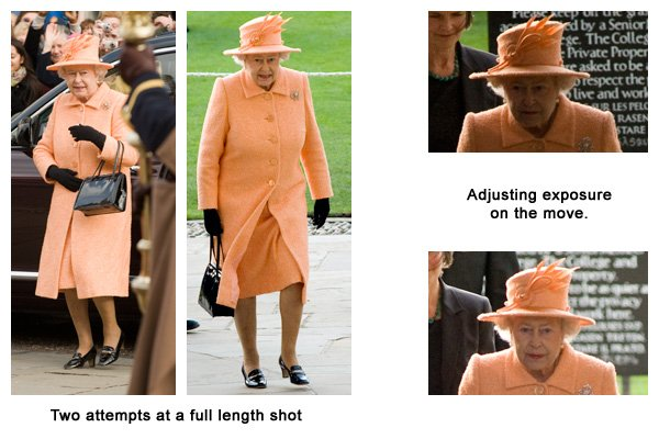Montage of two very different full length shot's and two differing exposures as the Queen travelled under a dark archway.