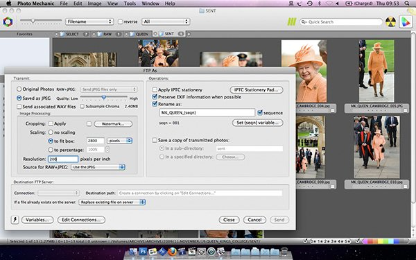 Screen shot of Photo Mechanic in action with pictures ready to wire to the picture desk.