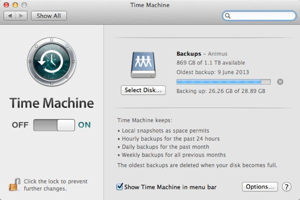 Time Machines preferences are rather sparse but its the lack of options that make it a great setup-and-forget backup system