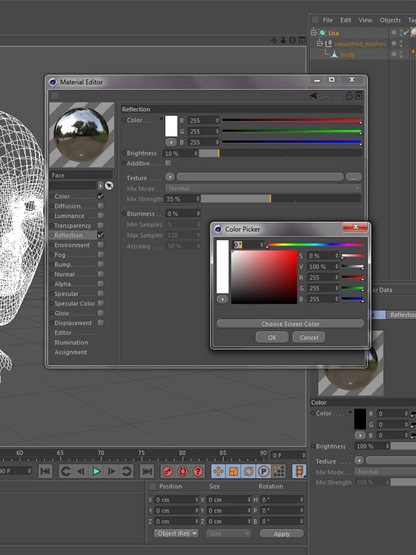 Material editor reflection setting