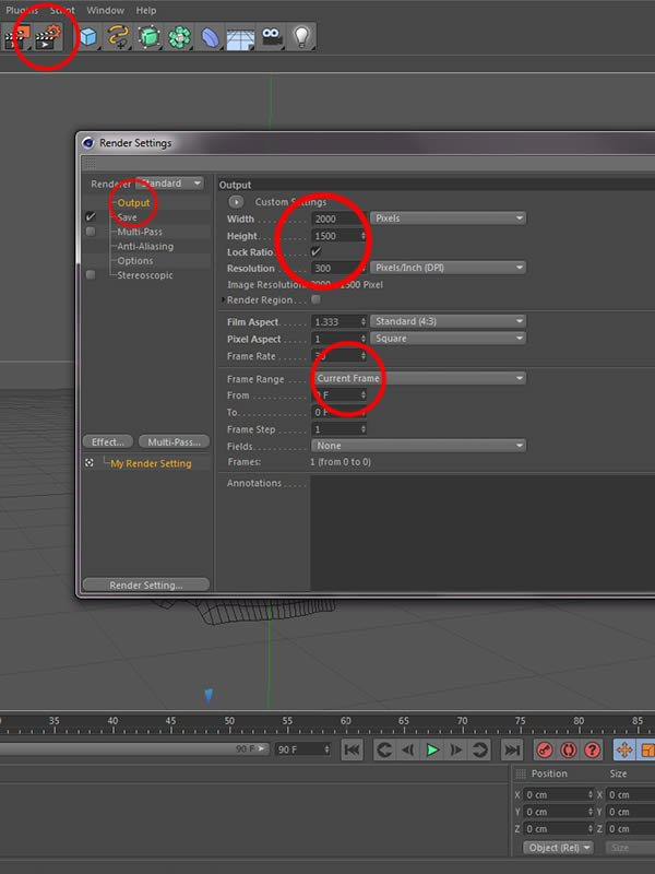 Render Settings Output