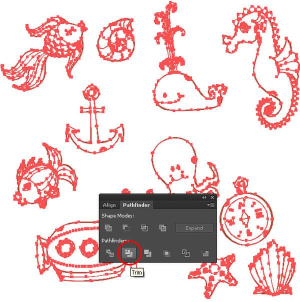 Sea-Pattern-Trim-Objects