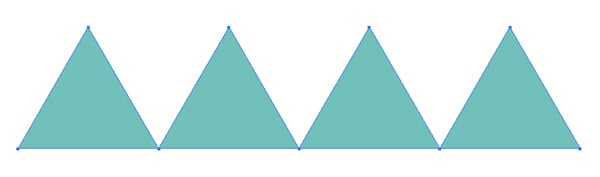 four triangles in a row