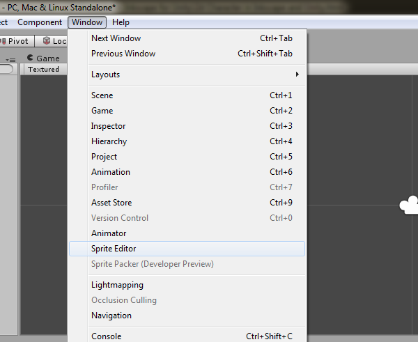 Opening The Sprite Editor