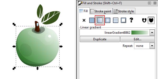 inkscape linear gradient fill