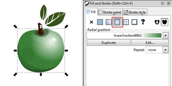 inkscape radial gradient fill