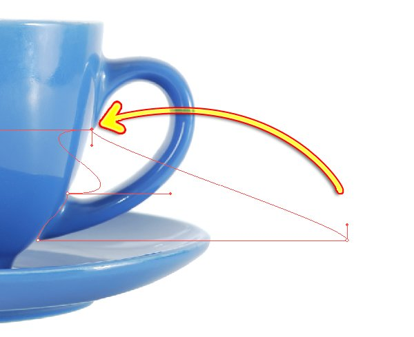 Move the bottom right point of the rectangle up to the base of the cup handle.