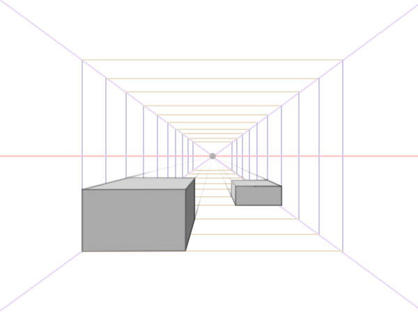 Boxes in one point perspective
