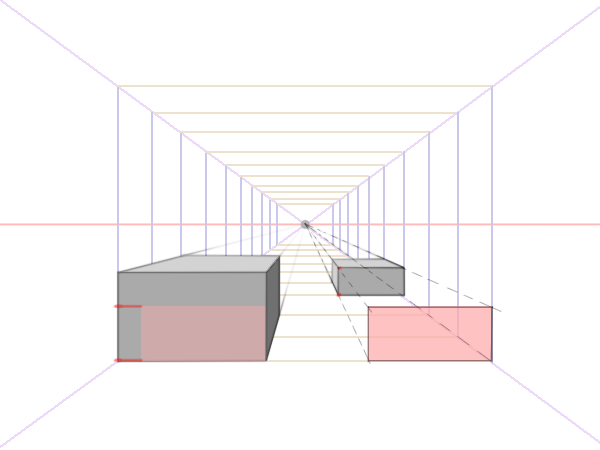 Boxes in one point perspective size comparison