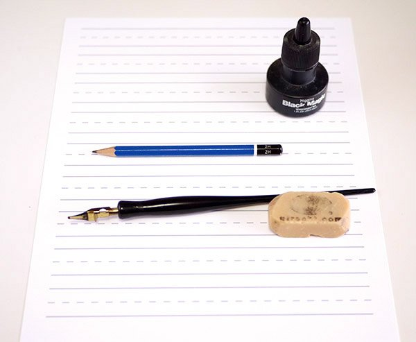 calligraphy intro - supplies