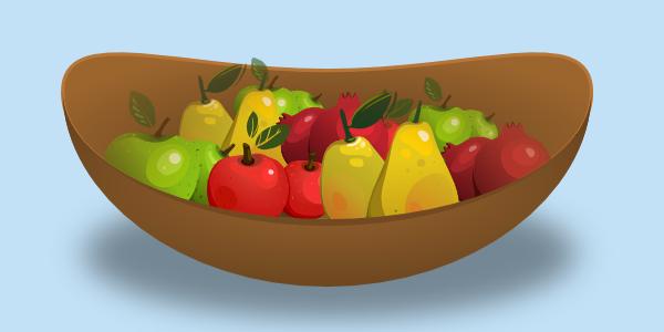 masked fruit in basket