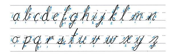 cursive calligraphy - lowercase alphabet