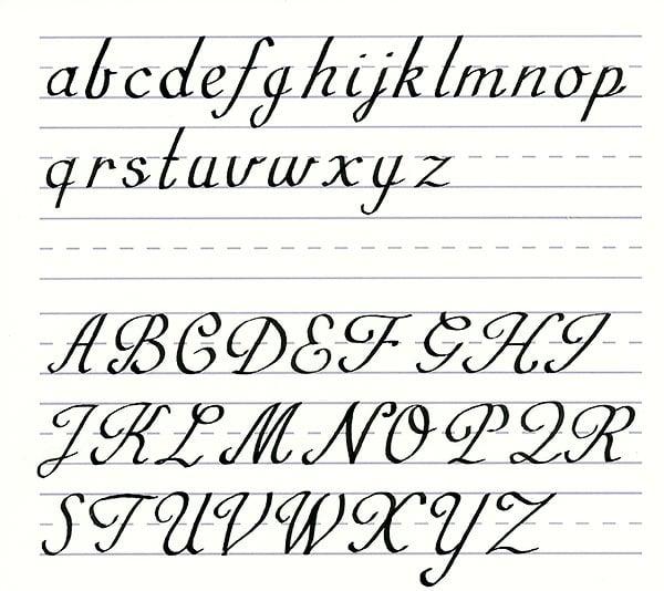 roundhand script - alphabet