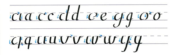 roundhand script - curved stroke lowercase letters