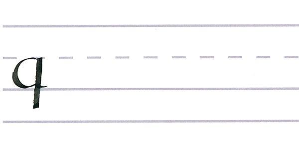 roundhand script - letter q