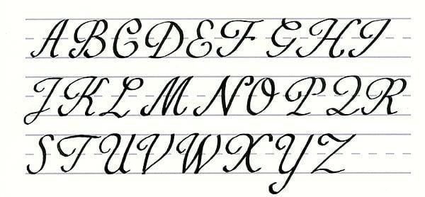 roundhand script - uppercase alphabet
