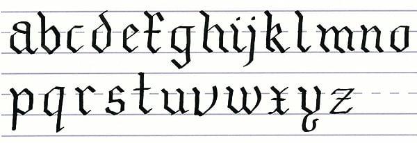 gothic script - lowercase alphabet