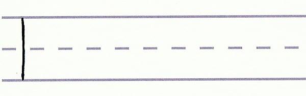 gothic script - thin downward stroke