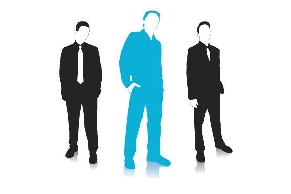 three business men psoing