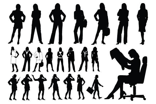 professional women girl silhouettes