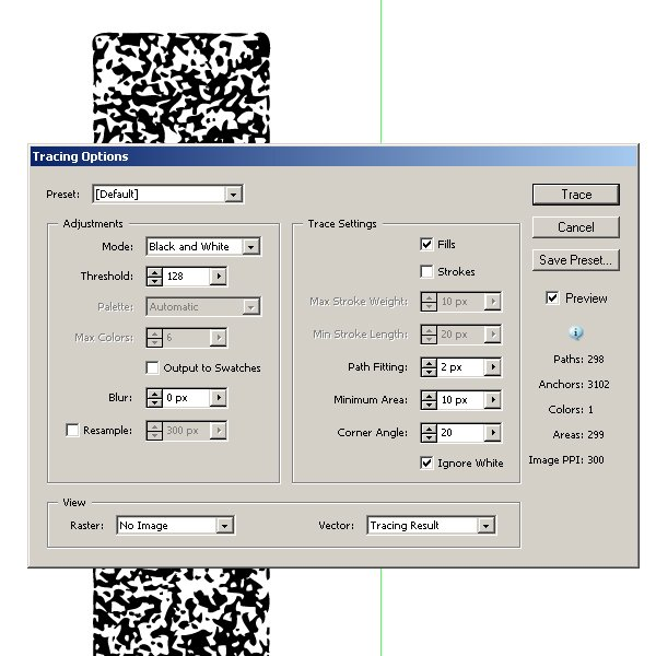sparkler texture tracing options