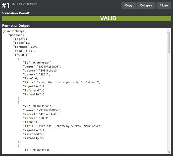 The data in JSON format retrieved from this example Only the information about the first two photos is visible in this screen shot