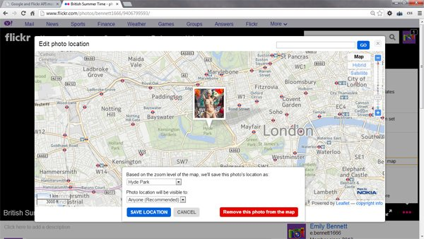 Setting the location of a photo within Flickr