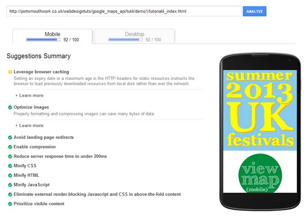 Analyzing the loading speed of the website using Google Pagespeed