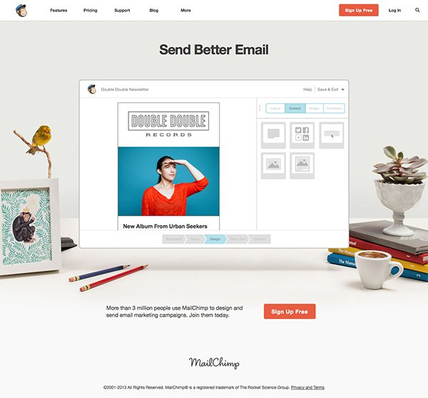 Mailchimp use whitespace cleverly on their homepage, to highlight their brand message more clearly.