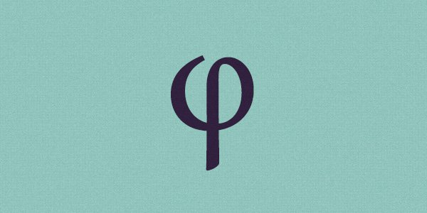The Greek letter phi which symbolizes the golden ratio