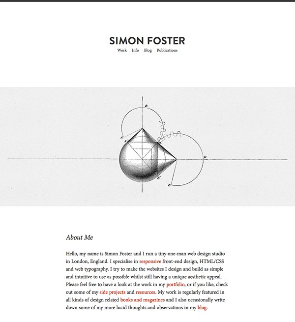 Simon Foster's website is very minimalist in style, with content clear throughout the website.