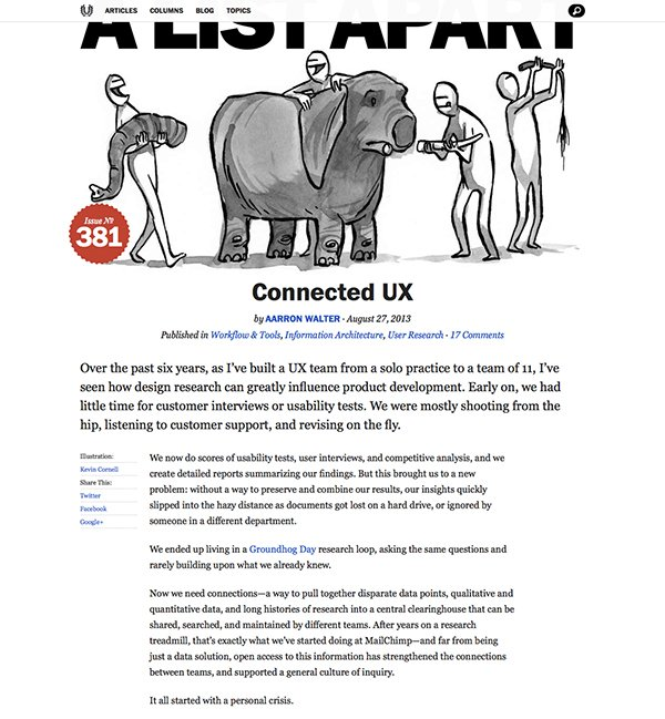 Although many of the A List Apart articles are extremely content-heavy, they still manage to display that content in a really balanced, digestible way - and their use of different font sizes and styles helps with this.