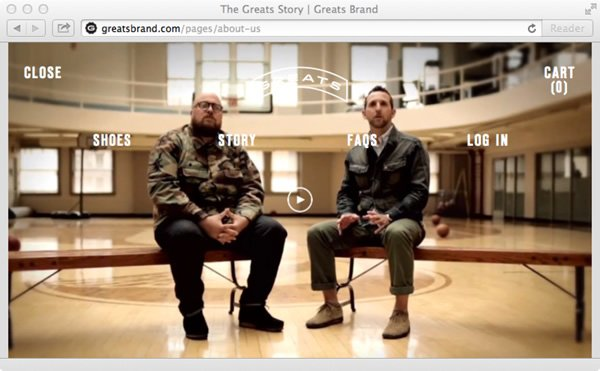 The Greats Brand Story page adds personality to the brand and site