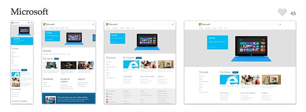 The Microsoft website cleverly makes use of moving content and cropping images depending on the size of the viewport. Screenshots provided courtesy of mediaqueri.es.