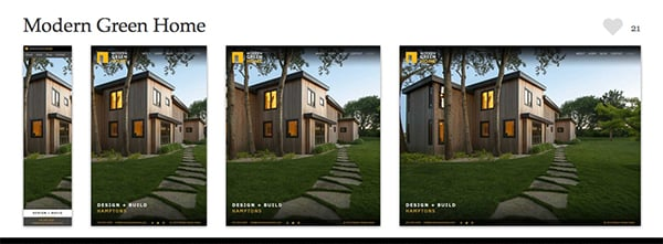 A beautiful example of responsive web design in action can be seen on the Modern Green Home website. Screenshot courtesy of mediaqueri.es.