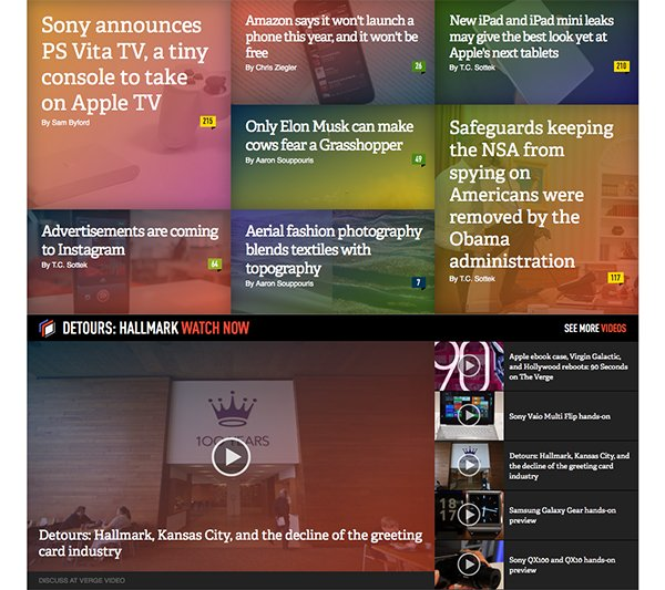 Colour, alignment and grids play a large part in The Verge's website design. There's a lot of content to look at, but using colour they can make it easier to focus on what modules or bits of text are different to each other.