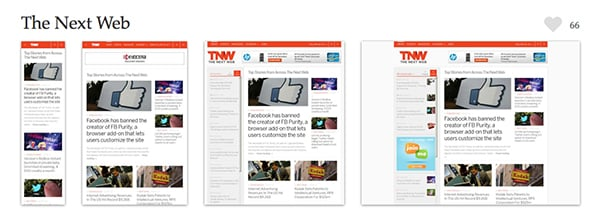 The Next Web manages to display content in a way that is easy to digest and follow, even down to small screens. Screenshots provided courtesy of mediaqueri.es.