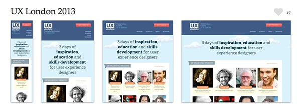 The UX London 2013 website is a beautiful example of design that scales from small to large gracefully. Screenshots provided courtesy of mediaqueri.es.
