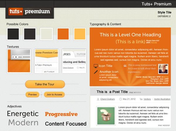 A Style Tile Representation of Envatos Tuts Premium Website