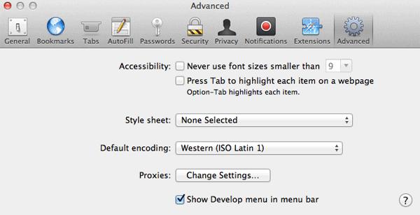 Safari 6 Advandced Preferences