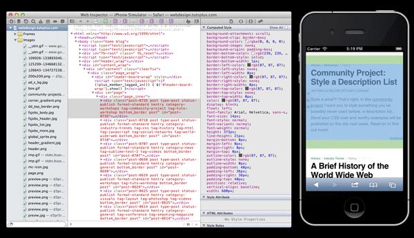 Screenshot iOS simulator and web inspector
